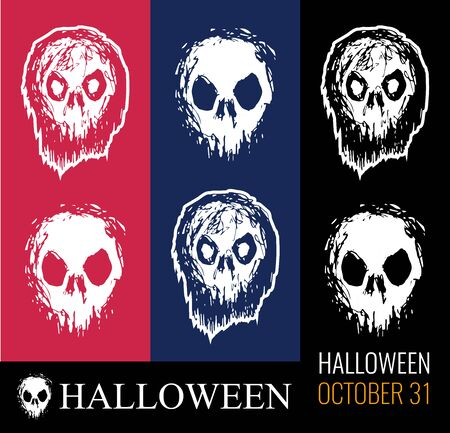 Vector set of illustrations for Halloween, creepy zombie head, skull white color on red, dark blue and black isolated. Excellent illustrations for printing on t-shirt or tattoo. Illusztráció