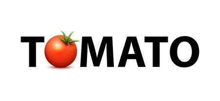 Logo for the Market of fresh organic farms. Creative vector illustration with Text and image of realistic tomato suitable for print in Any size. Illusztráció