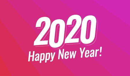 Happy New Year 2020 Greeting Card, Vector Christmas holiday layout for card, invitation, sale offer or calendar in pink modern style.