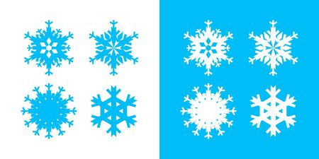 Snowflake icon set white and blue color. Christmas and winter theme. Simple flat graphic abstract illustration on white and blue background. Vettoriali