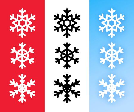 Snowflake icon set for Christmas holiday decoration. Vector Line art abstract symbols of snowflakes on red, white and blue color. Иллюстрация