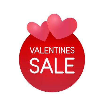 Valentine Day Sale Sticker label for special offer red color isolated on white. Vector round banner with Hearts and Caption on copy space. Vettoriali