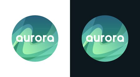 Aurora round emblem, Northern Borealis Travel Иллюстрация