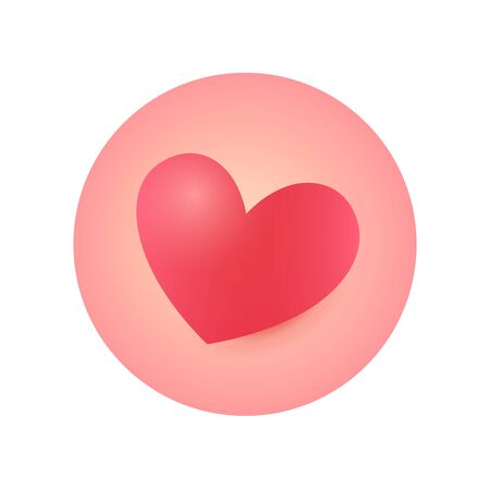 Round Heart Icon, Sticker for Valentines Day