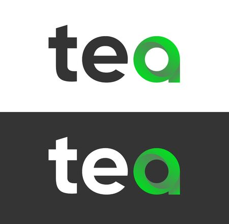 Tea lettering isolated on white and black