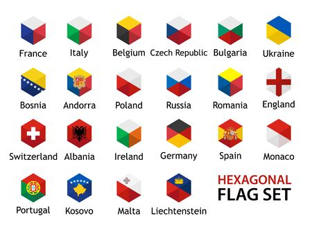 Flag icon Vector Set hexagonal shape with captions Vettoriali