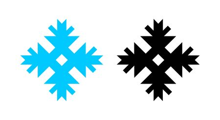 Snowflake icon for New Year and Christmas in black and blue color isolated on white. Set of Abstract Christmas ornament for weather indicator, decoration of banners, web, presents.