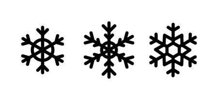 Christmas Snowflakes set black color on white - vector design. Silhouettes of Snow symbols.