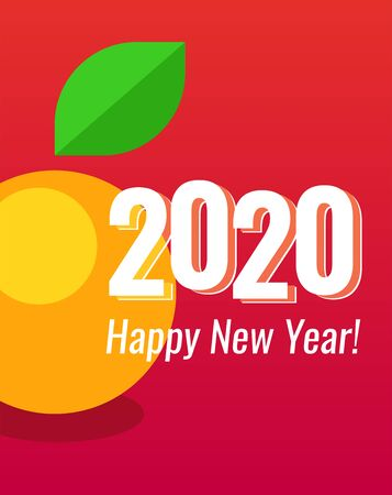 2020 Happy New Year Poster vertical orientation Red color with Mandarin - symbol of New Year. Vector Design of Placard or Greeting Card with copy space at top and bottom areas. Vettoriali