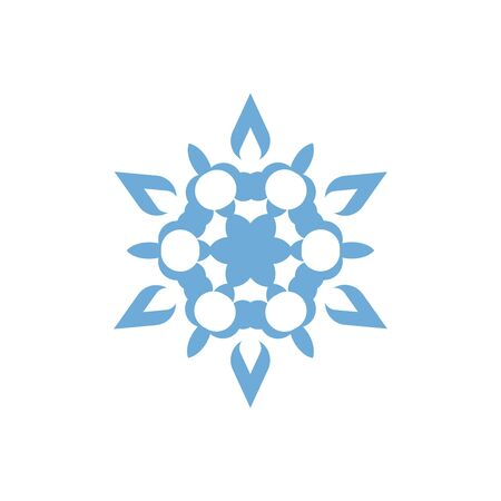 Snowflake icon. Christmas and winter theme. Simple flat blue illustration on white background.