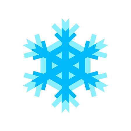 Snowflake icon for New Year and Christmas design blue color. Creative graphic illustration isolated on white for decoration gifts and presents, weather indicator. 矢量图像