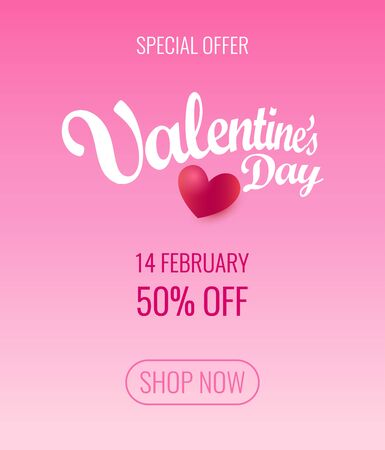 Valentines Day Special offer flyer layout vector design. Blank of pink poster or Placard, Web Design with information about Sale at 14 February - Invitation coupon.