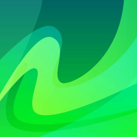 Aurora Polar Lights, Colorful Vector Background Illustration of Northern Borealis. Wavy Abstract Backdrop in Green color.