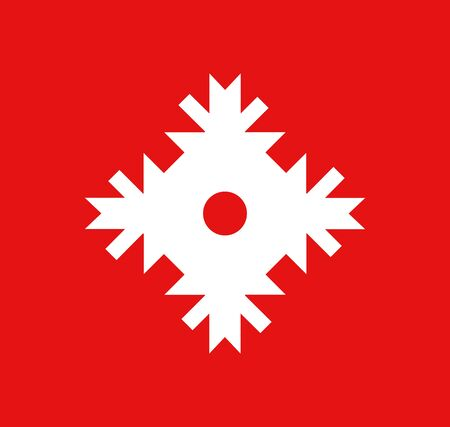 Vector Snowflake icon white color on red background. Style graphic illustration.