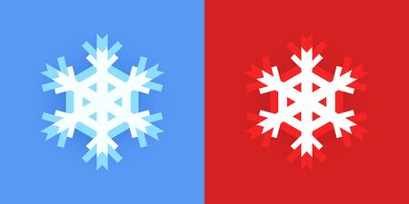 Set of Snowflake icon for Christmas design on blue and red background. Creative graphic elements for Winter holidays. Vettoriali