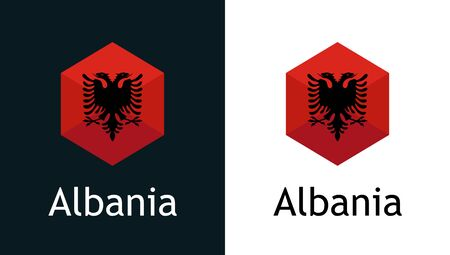 Flag of Albania in style hexahonal shape, Vector icon on white and black. Emblem for Election, Sport or Travel Tour decoration. Vettoriali