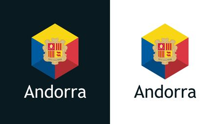 Flag of Andorra in vector. Flat icon on white and black. Emblem for Election, Sport or Travel Tour decoration. 矢量图像