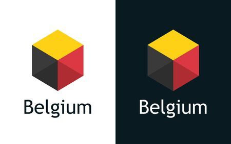 Flag of Belgium in vector. Flat icon on white and black. Emblem for Election, Sport or Travel Tour decoration. Creative illustration with caption fit into national design 矢量图像