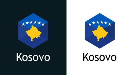 Kosovo flag in flat minimalism style on white and black, Vector for Travel, Sport or Elections decoration. Creative illustration with caption fit into national design.