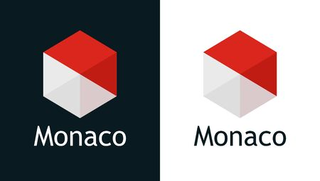 Monaco flag in flat minimalism style on white and black, Vector for Travel, Sport or Elections decoration. Creative illustration with caption fit into national design. Vettoriali