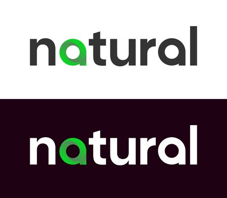 Organic Lettering Label, Vector Logo for Market, Web or Journals on white and black background. Vettoriali