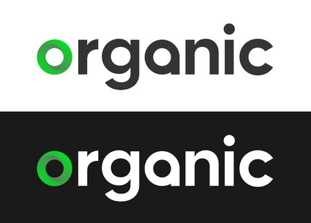 Organic Lettering Label, Vector  for Market, Web or Journals on white and black background.