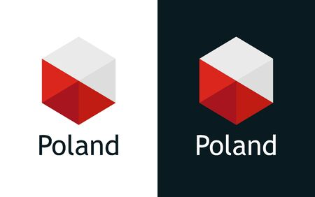 Poland flag in flat minimalism style on white and black, Vector for Travel, Sport or Elections decoration. Creative illustration with caption fit into national design. Vettoriali