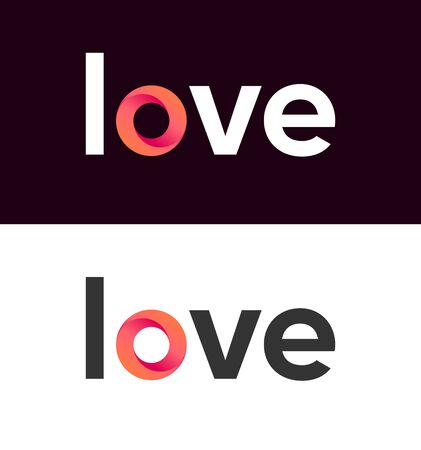 Love lettering on white and black background Vettoriali