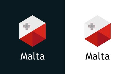 Vector icon of Malta flag on black and white