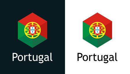 Vector icon of Portugal flag on black and white Vettoriali