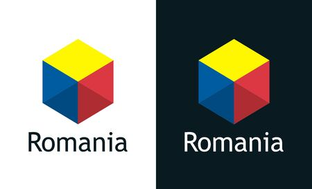 Vector icon of Romania flag on black and white