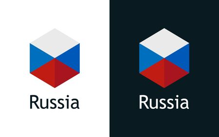 Vector icon of Russian flag on black and white Иллюстрация