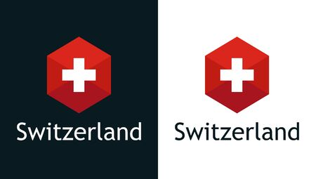 Vector icon of Swiss flag on black and white