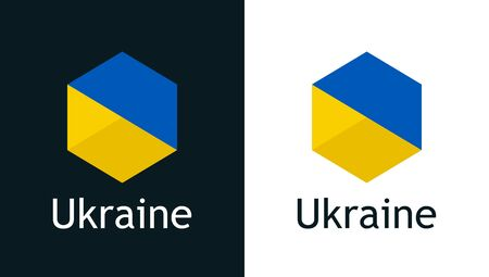 Vector icon of Ukraine flag on black and white