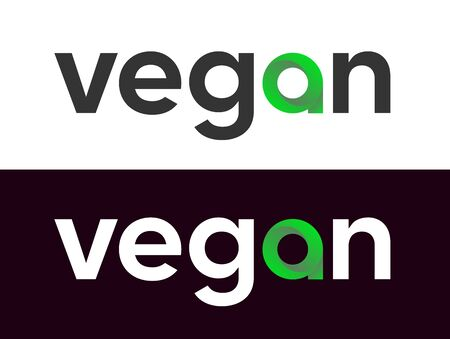 Vegan lettering Vector Label for Market, Web Vettoriali