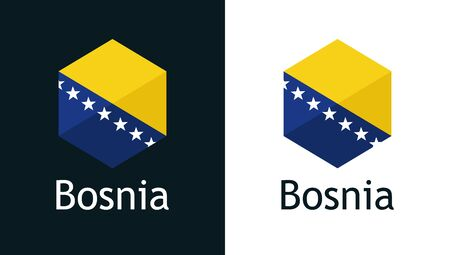 Bosnia flag in vector, icon on white and black