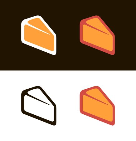 Cheese icon on white and black. Vector symbols