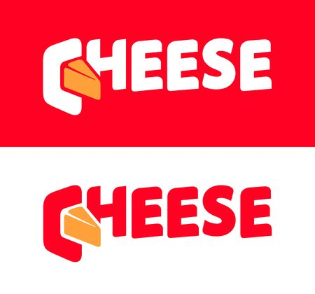 Cheese in lettering style on white and red Vettoriali