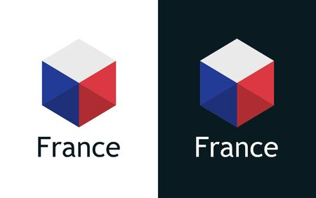 France flags set, Flat Vector Emblem with captions
