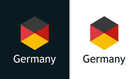 Germany flag in flat style on white and black