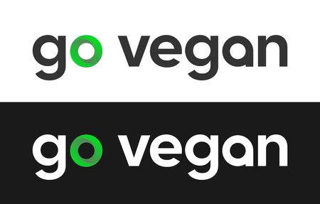 Go vegan label for Market, Web or Magazines. Иллюстрация
