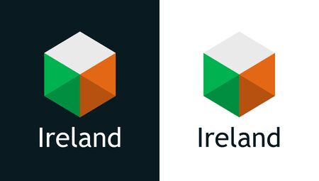 Ireland flag in flat style on white and black
