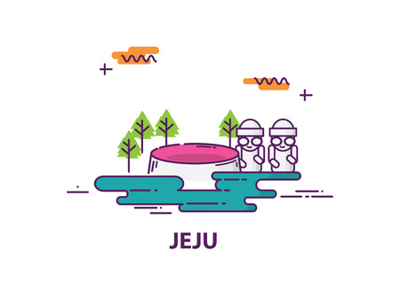 jeju island in south korea with line art design Illustration