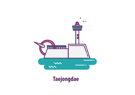 Taejongdae in south korea with line art design