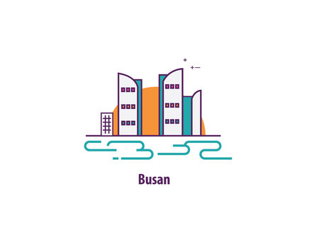 busan illustration in south korea with line art vector