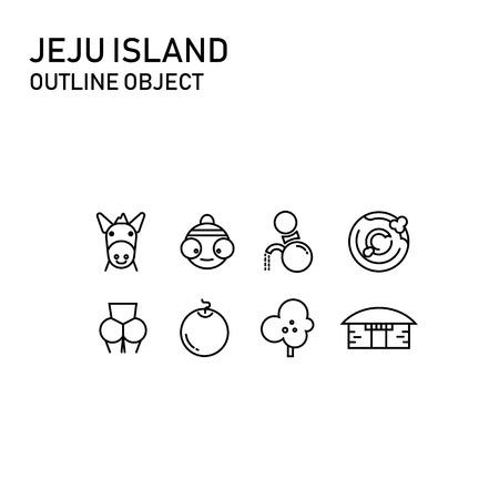 jeju island item with transparent outline design, doodle icon