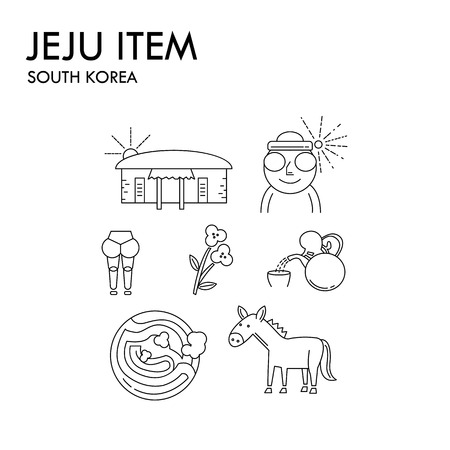 items of jeju island in south korea,travel set, line object transparent design.