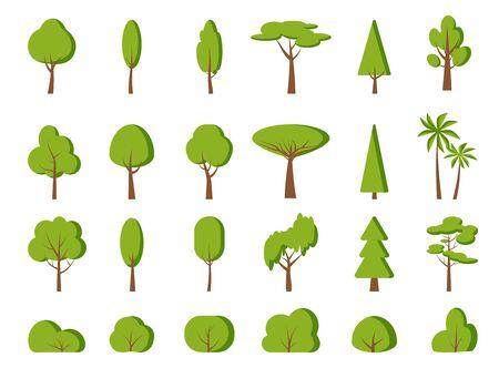Green spring tree, bush flat cartoon icon set. Different shape simple forest, park, garden oak, birch, fir, palm, symbol. Summer season eco organic plant sign. Isolated on white vector illustration 矢量图像