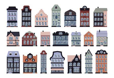 Dessin animé maisons colorées Amsterdam icon set vector Vecteurs