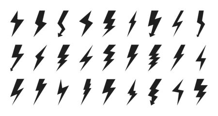 Black lightning bolt icon set. Empty silhouette design for logotype electricity. Glyph flash pictograms for sign charge or voltage, thunder and lightning strike. Isolated on white vector illustration Logo